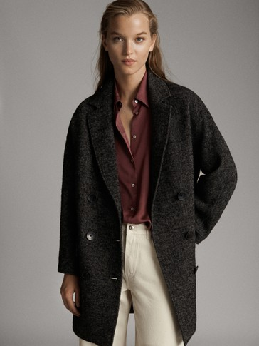 DOUBLE-BREASTED HERRINGBONE WOOL COAT