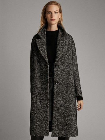 FLECKED BLACK COAT