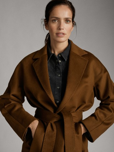 LONG WOOL COAT WITH BELT