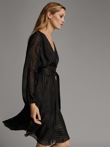 BLACK STRIPED DRESS WITH METALLIC DETAIL