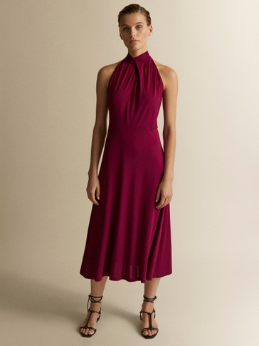 HALTER DRESS WITH TIE DETAIL