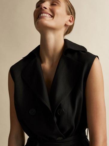 Schwarzes Trench Kleid Aus Leinen by Massimo Dutti