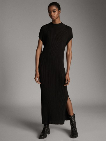 BLACK RIBBED HIGH NECK DRESS