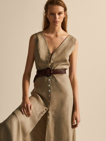 BUTTONED 100% LINEN DRESS