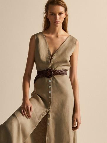 فستان 100% كتان بأزرار