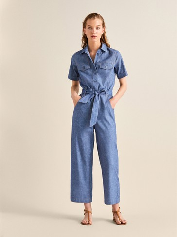 BELTED DENIM JUMPSUIT IN LINEN WITH TOPSTITCHING