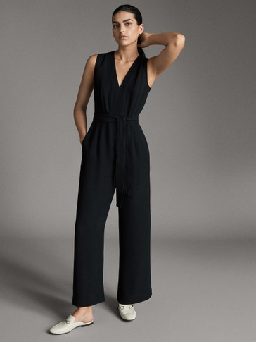 BLACK JUMPSUIT WITH TIE BELT