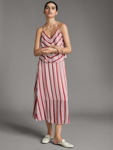 فستان مخطط وبأزرار