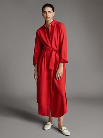 فستان طراز قميصي من نسيج لايوسيل