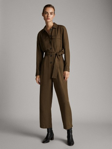 100% LYOCELL JUMPSUIT WITH POCKETS AND BELT