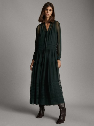 LONG DRESS WITH COLLAR DETAIL