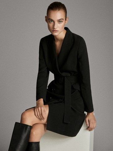 BLACK BLAZER DRESS WITH BELT