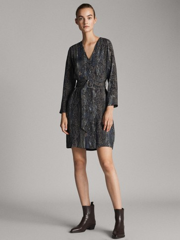 BELTED SNAKESKIN PRINT DRESS
