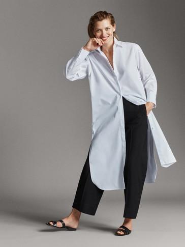 فستان طراز قميصي من قماش البوبلين