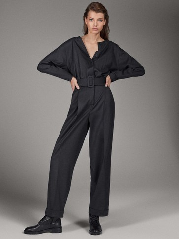 LIMITED EDITION 100% WOOL JUMPSUIT WITH BELT