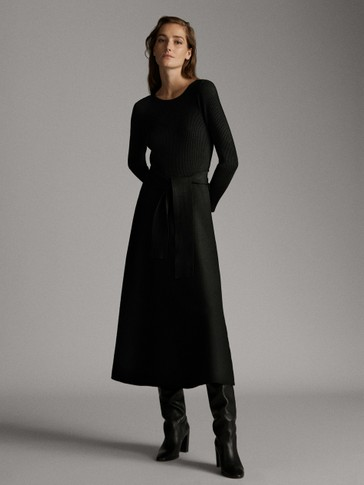 BOATNECK DRESS WITH BELT