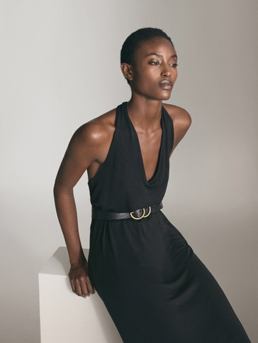 BLACK LYOCELL HALTER DRESS