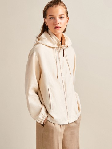100% LINEN HOODED JACKET