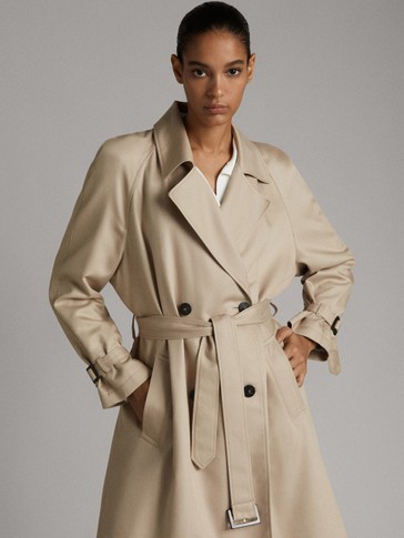 LYOCELL RELAXED TRENCH COAT WITH BELT
