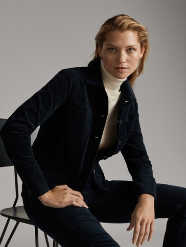 NAVY BLUE NEEDLECORD JACKET WITH POCKETS