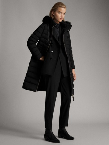 LONG BLACK STRETCH PUFFER JACKET