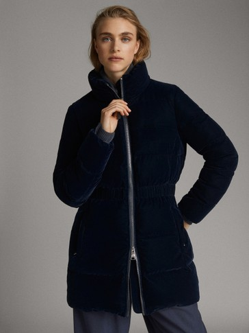 NAVY DOWN VELVET JACKET