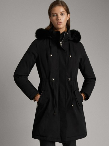 BLACK PARKA WITH LAMBSKIN HOOD