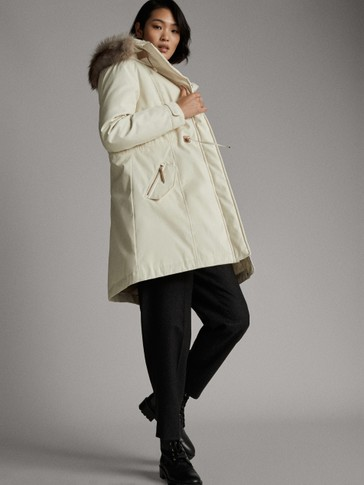 WHITE LEATHER PARKA