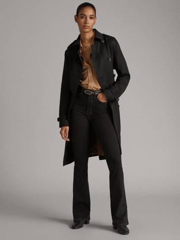 BLACK TRENCH COAT WITH BUTTONS AND BELT