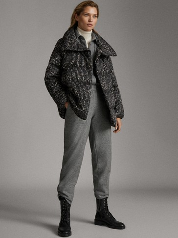 BOUCLÉ QUILTED DOWN JACKET