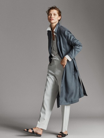 FLOWING LYOCELL JACKET WITH TIE BELT
