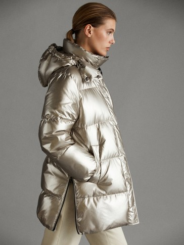 LAMINATED APRÈS-SKI DOWN JACKET
