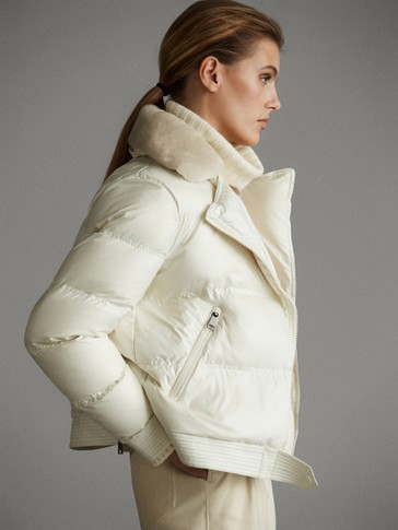 SHEEPSKIN AND FEATHER BIKER JACKET