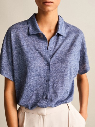 100% LINEN BUTTON-UP POLO SHIRT