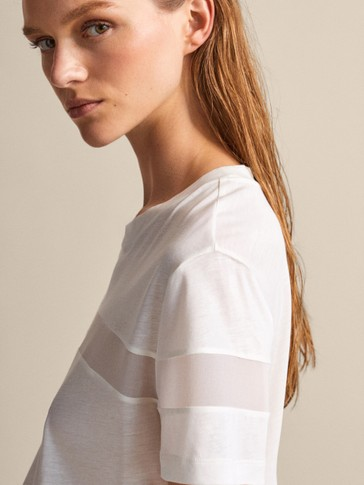 LYOCELL AND COTTON T-SHIRT WITH SHEER TRIM
