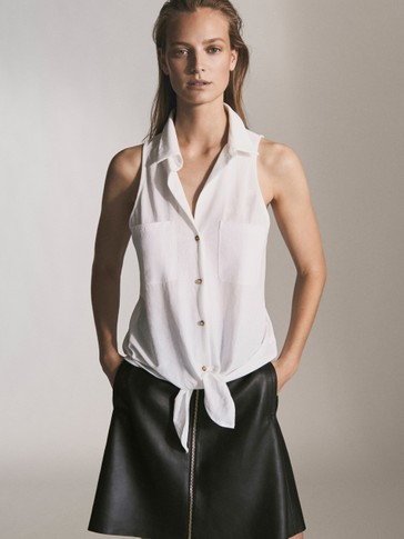 PLAIN TOP WITH KNOT AND POCKETS