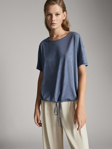 COTTON AND LYOCELL T-SHIRT WITH DRAWSTRING