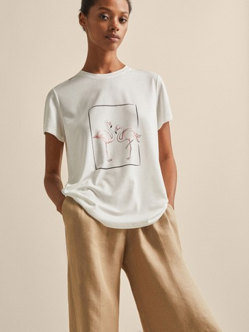 LYOCELL AND COTTON T-SHIRT WITH FLAMINGO PRINT