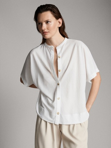 BUTTONED STAND-UP COLLAR SHIRT