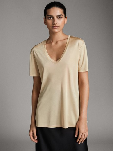 SHORT SLEEVE SATIN T-SHIRT