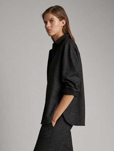 Overshirt With Uneven Cuff And Hem Detail by Massimo Dutti