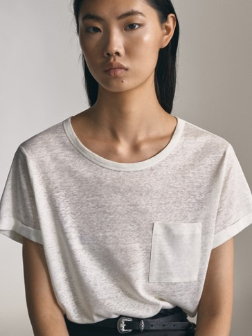 LINEN T-SHIRT WITH POCKET DETAIL