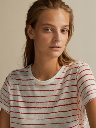 STRIPED 100% LINEN T-SHIRT