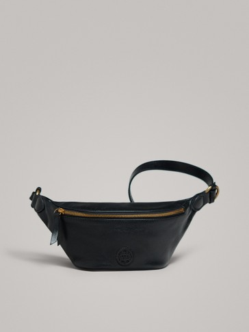 BLACK NAPPA LEATHER BELT BAG WITH LOGO