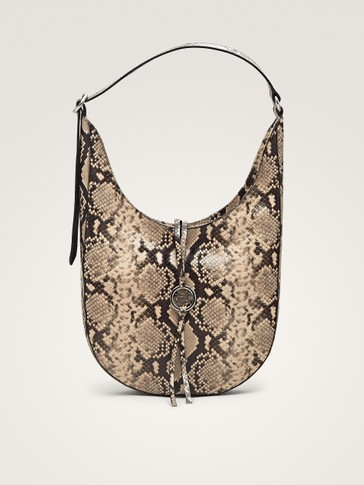 SNAKESKIN-EFFECT LEATHER SHOULDER BAG WITH METAL APPLIQUÉ
