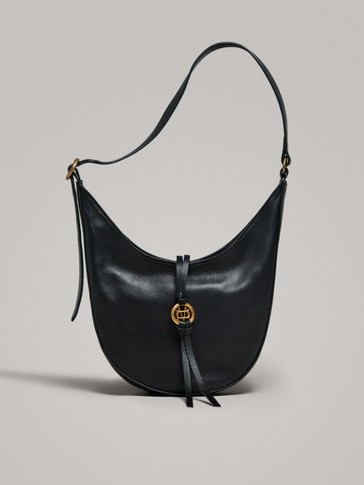 BLACK NAPPA SHOULDER BAG WITH METAL APPLIQUÉ