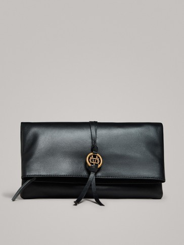 BLACK NAPPA LEATHER CLUTCH WITH LOGO