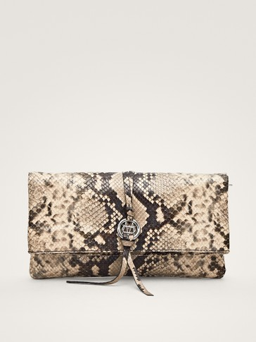 SNAKESKIN PRINT NAPPA LEATHER CLUTCH WITH LOGO