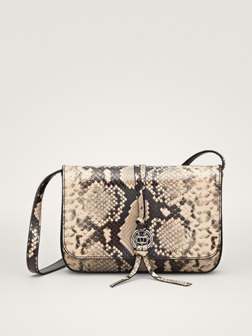 SNAKESKIN-EFFECT LEATHER CROSSBODY BAG