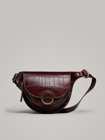 MOCK CROC LEATHER BELT BAG WITH LOGO